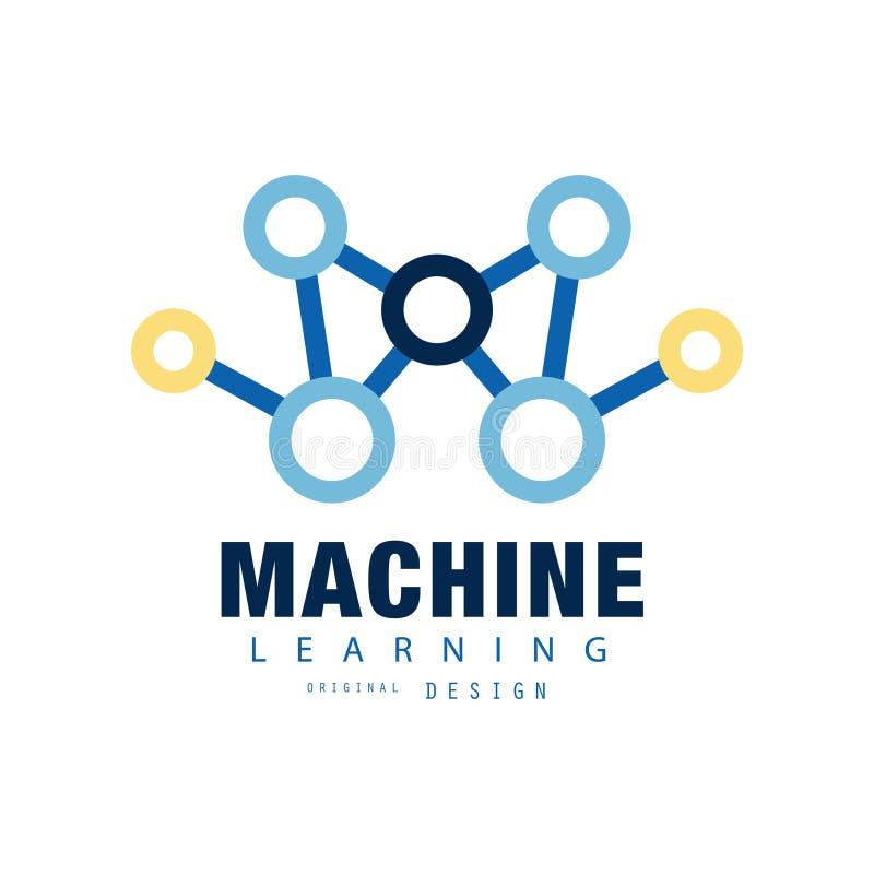 Logotipo criativo da aprendizagem de máquina Ícone da inteligência artificial Computação da tecnologia Projeto liso abstrato do v ilustração do vetor