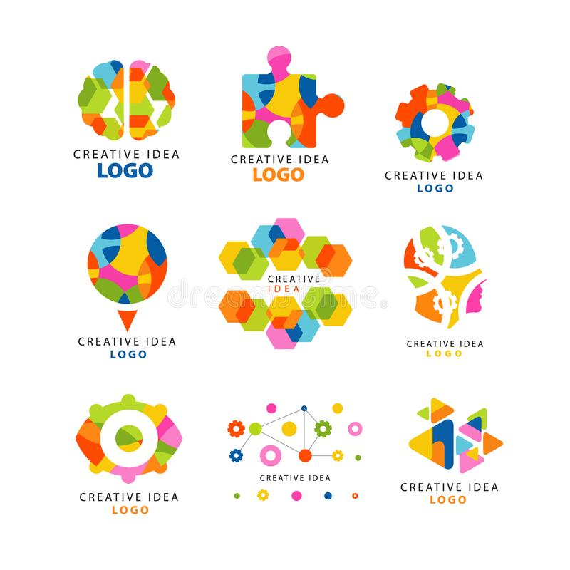 Logotipo criativo da ideia, elementos coloridos abstratos e símbolos para a site, propaganda, bandeira, cartaz, bandeira ilustração stock