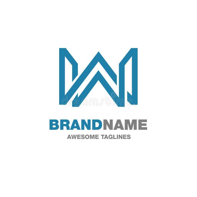 Logotipo criativo de W da letra ilustração stock