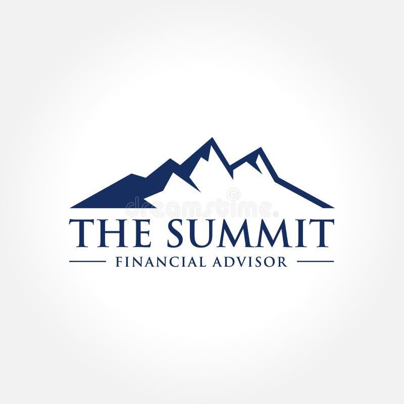 Logotipo criativo do conceito da montanha Cimeira, pico, ilustração do vetor do monte ilustração royalty free