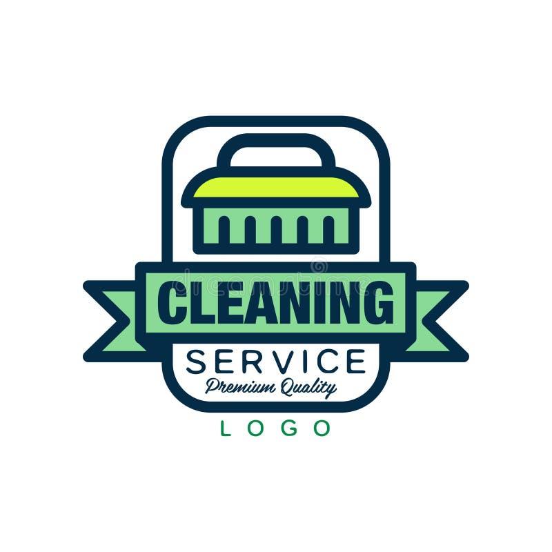 Logotipo criativo, emblema, crachá ou etiqueta com escova de limpeza e a fita decorativa Serviço da empregada doméstica ou da lav ilustração stock