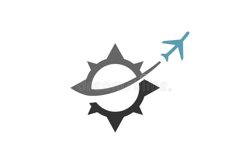 Logotipo criativo original do curso dos aviões do compasso ilustração do vetor