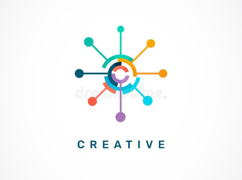 Logotipo - criativo, tecnologia, ícone da tecnologia e símbolo ilustração royalty free