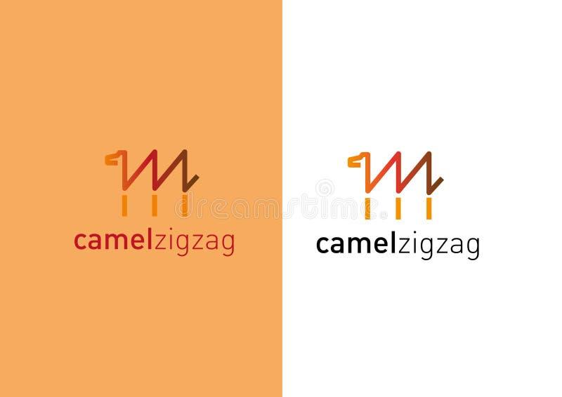 Logotipo criativo tornando-se Camelo sob a forma de um ziguezague ilustração stock