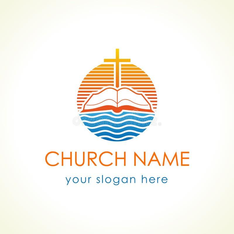 Logotipo cristão do vetor da cruz e da Bíblia ilustração do vetor