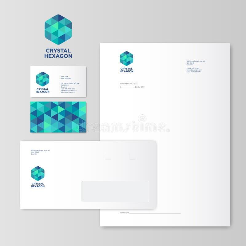Logotipo cristalino verde y azul del hexágono identidad Estilo corporativo stock de ilustración