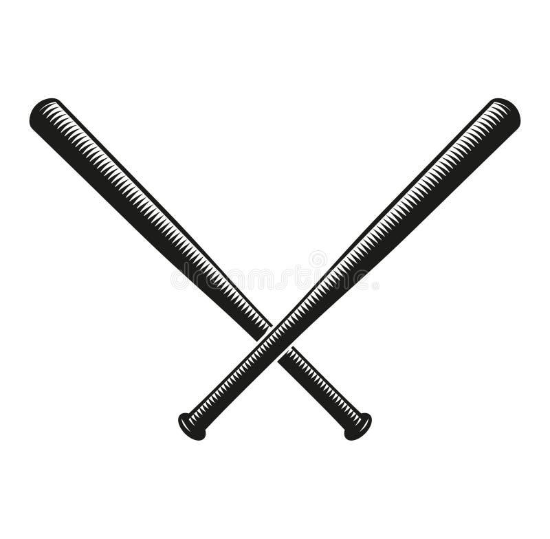 logotipo cruzado color negro abstracto de los bates de béisbol stock de ilustración