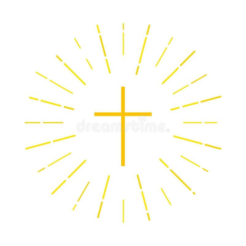 Logotipo cruzado con los rayos de la luz stock de ilustración