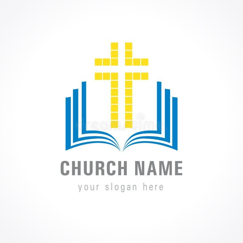 Logotipo cruzado de la biblia de la iglesia stock de ilustración