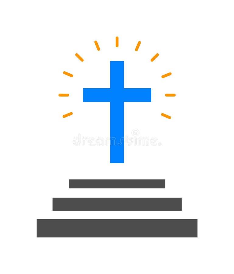 Logotipo cruzado de la iglesia stock de ilustración