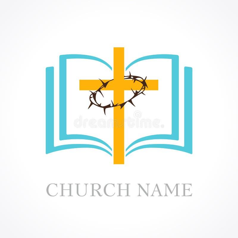 Logotipo cruzado de la iglesia de la biblia stock de ilustración