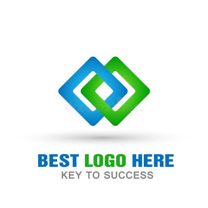 Logotipo cuadrado del extracto dos, éxito en el logotipo corporativo del negocio del concepto de la comunicación de las conexione libre illustration