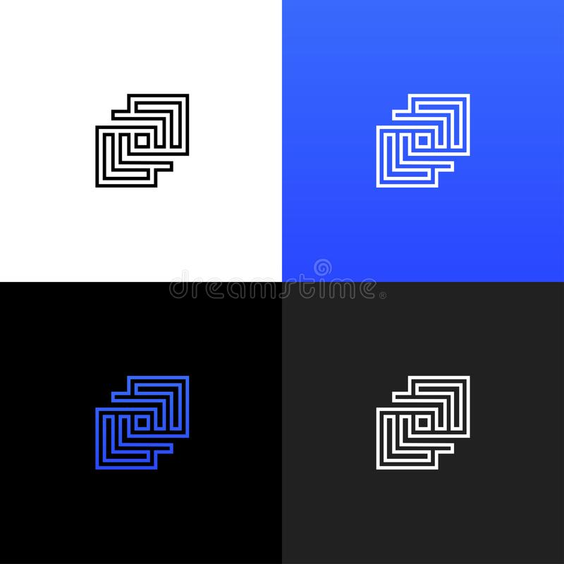 Logotipo cuadrado geométrico linear Logotipo cuadrado geométrico linear libre illustration