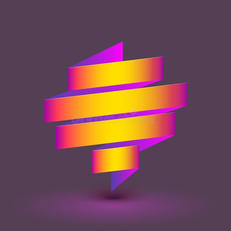 Logotipo curvado sumário, listras coloridas Sinal dobrado da fita, composição expressivo, ilustração 3D ilustração stock
