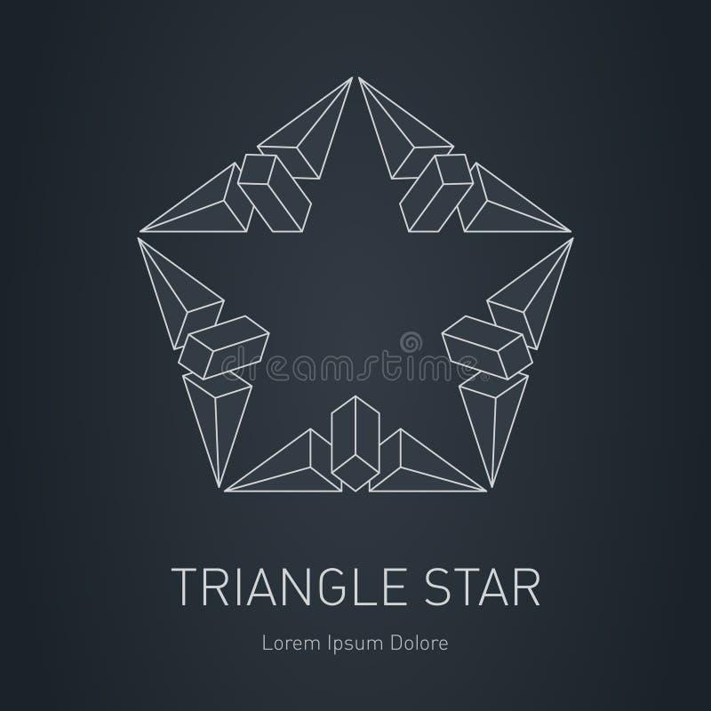 Logotipo 3D à moda moderno Elemento do projeto com quadrados, triângulos ilustração royalty free