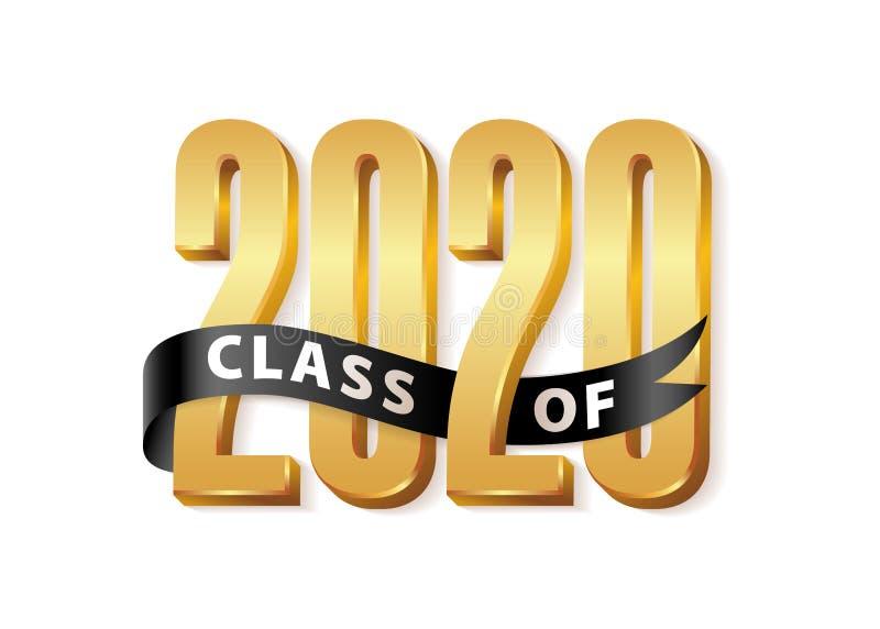 Logotipo 3d da Classe 2020 Gold Lettering Graduation com fita preta Ilustração vetorial do livro de estudos de pós-graduação