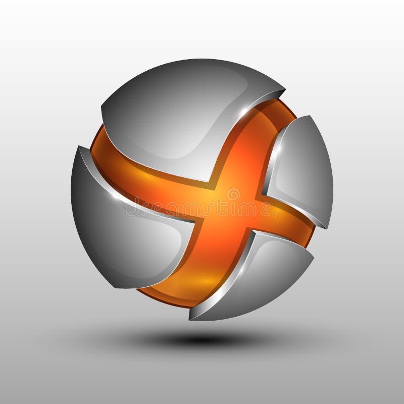 logotipo 3d Ilustração do vetor da esfera colorida alaranjada como o emblema ilustração do vetor