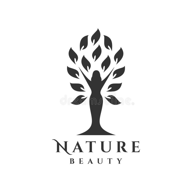 Logotipo da árvore com silhueta da mulher ilustração stock