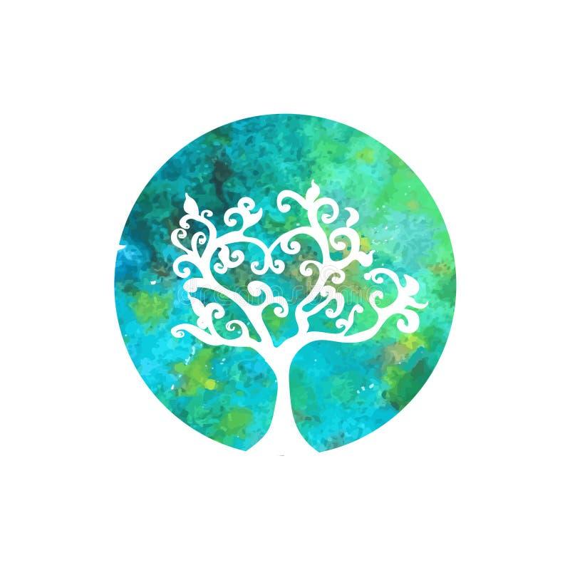 Logotipo da árvore da aquarela ilustração stock