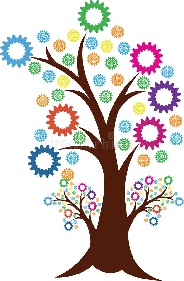 Logotipo da árvore da engrenagem ilustração stock