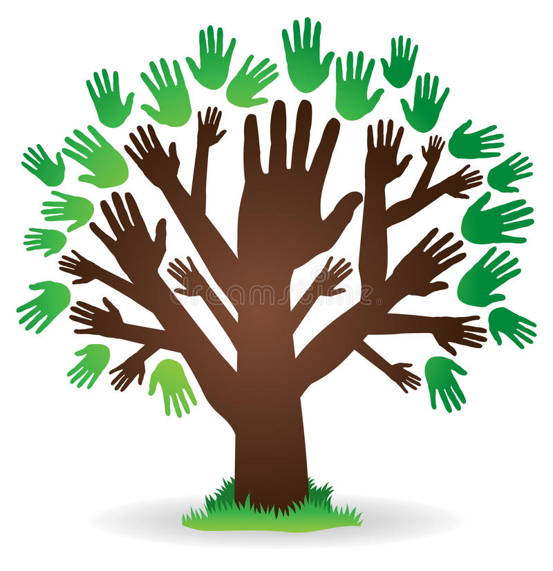 Logotipo da árvore da mão ilustração stock