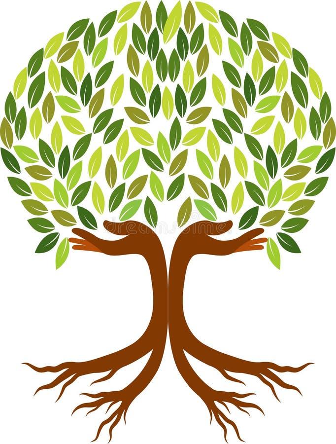 Logotipo da árvore da mão ilustração royalty free