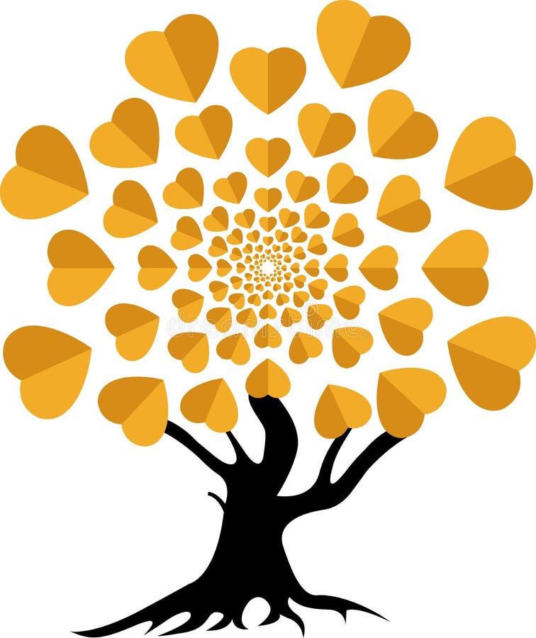Logotipo da árvore de amor ilustração do vetor