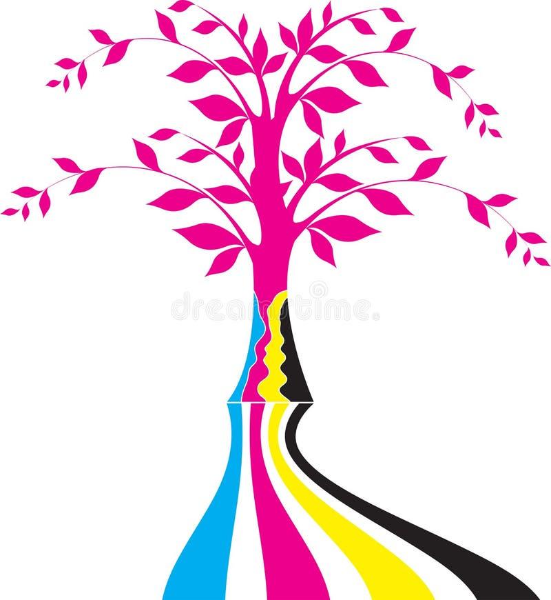 Logotipo da árvore de Cmyk ilustração do vetor