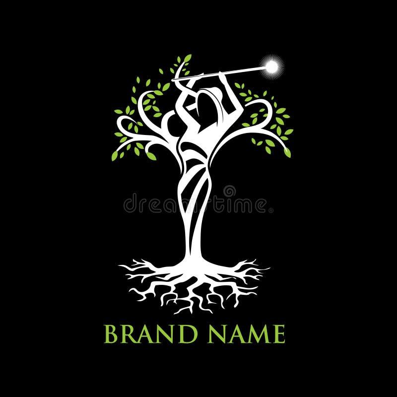 Logotipo da árvore do anjo ilustração do vetor