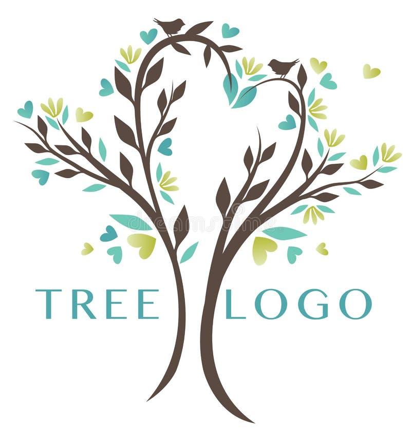 Logotipo da árvore do coração da natureza ilustração stock