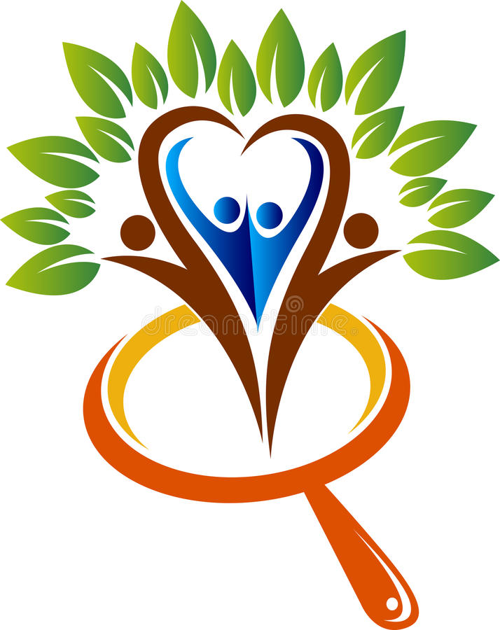 logotipo da árvore do crescimento da família da investigação ilustração royalty free