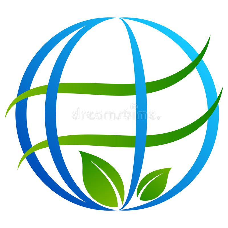 Logotipo da árvore do globo no branco ilustração stock