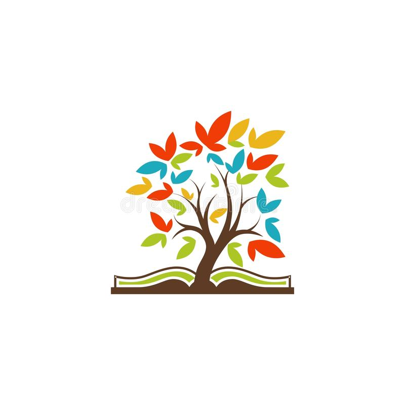 Logotipo da árvore do livro ilustração do vetor