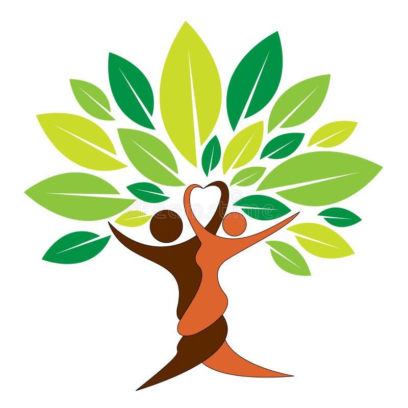 Logotipo da árvore dos pares ilustração stock