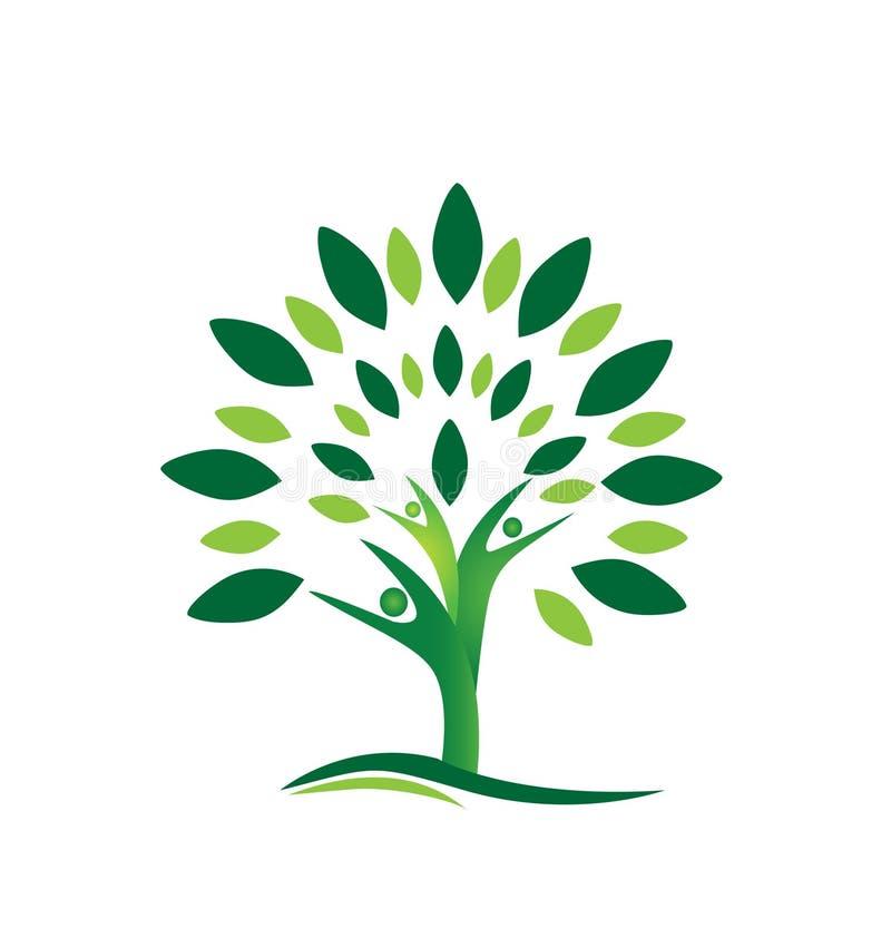 Logotipo da árvore dos povos dos trabalhos de equipa ilustração stock