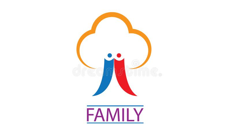 Logotipo da árvore genealógica - logotipo da árvore dos povos da família - família feliz Logo Template da união ilustração do vetor