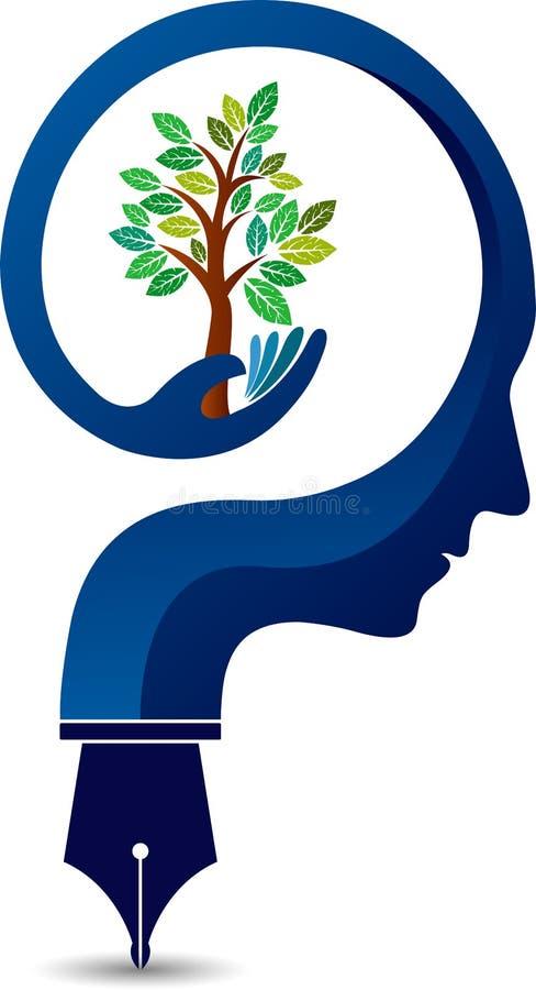 Logotipo da árvore da mente ilustração royalty free
