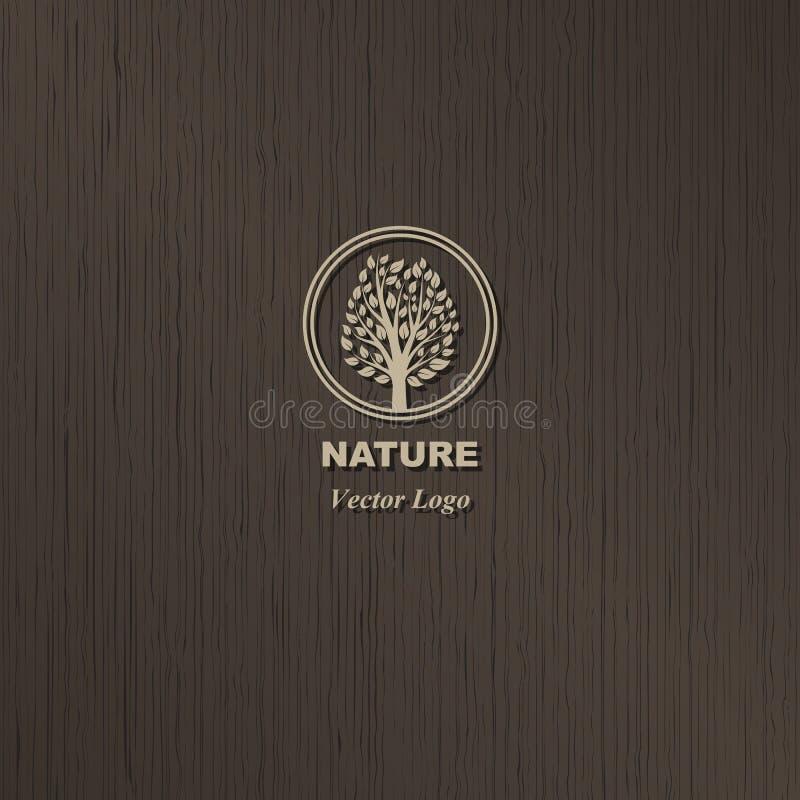 Logotipo da árvore no fundo de madeira marrom ilustração do vetor