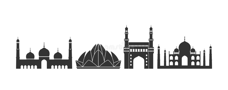 Logotipo da Índia Arquitetura indiana isolada da arquitetura no fundo branco ilustração stock