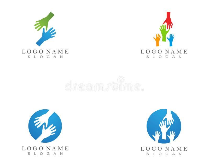 Logotipo da ajuda da mão e molde do símbolo ilustração royalty free