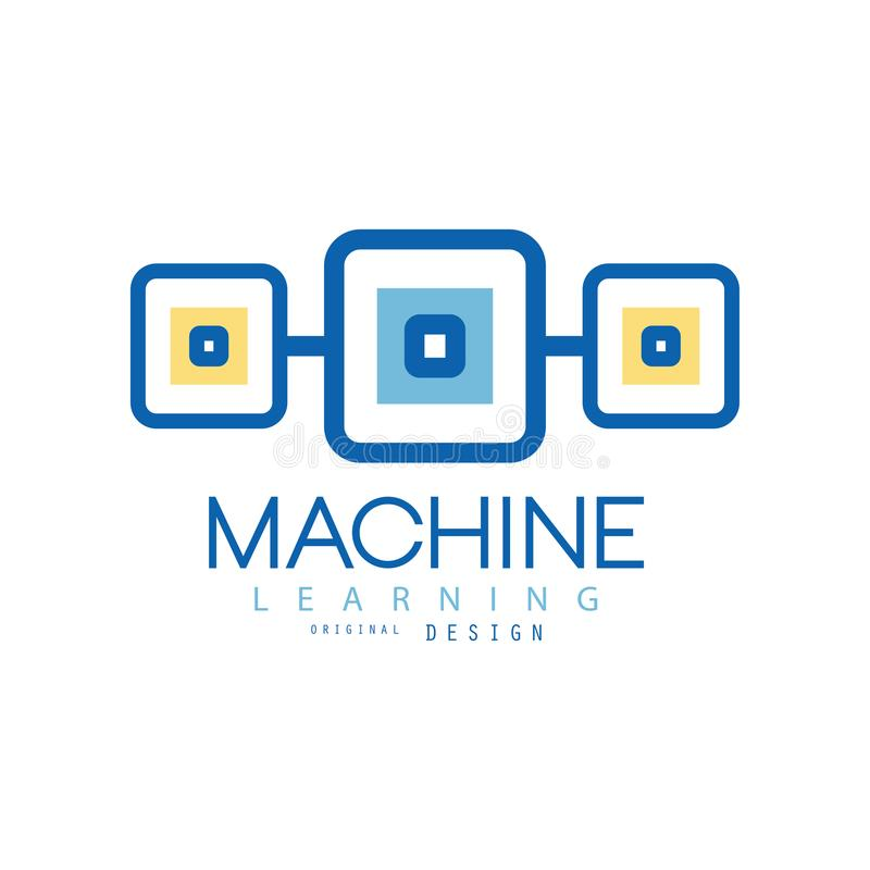 Logotipo da aprendizagem de máquina Símbolo geométrico de tecnologias modernas Conceito da indústria informática Projeto liso do  ilustração royalty free