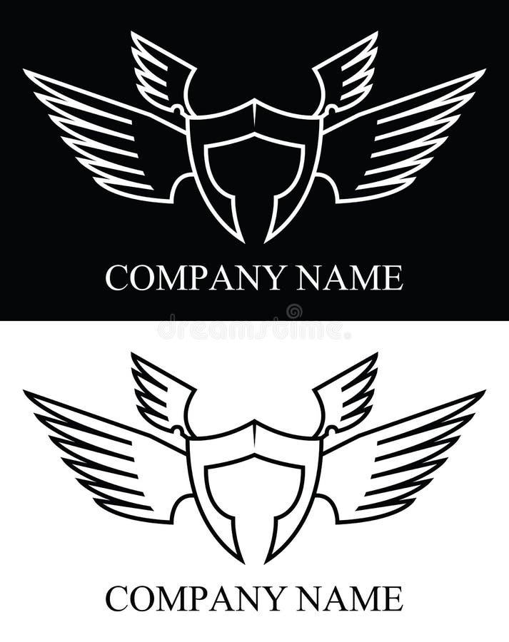 Logotipo da asa do guerreiro de Sparta, ilustração do vetor ilustração do vetor