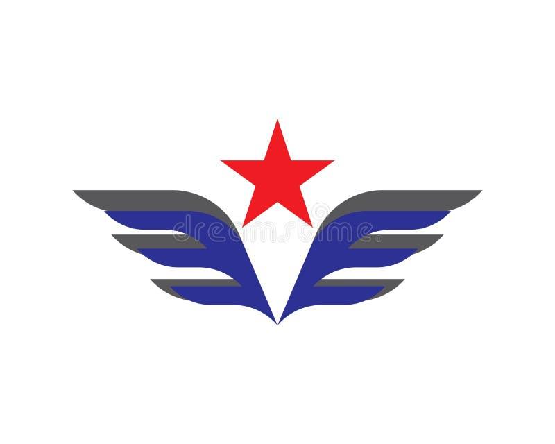 Logotipo da asa e molde do símbolo ilustração royalty free