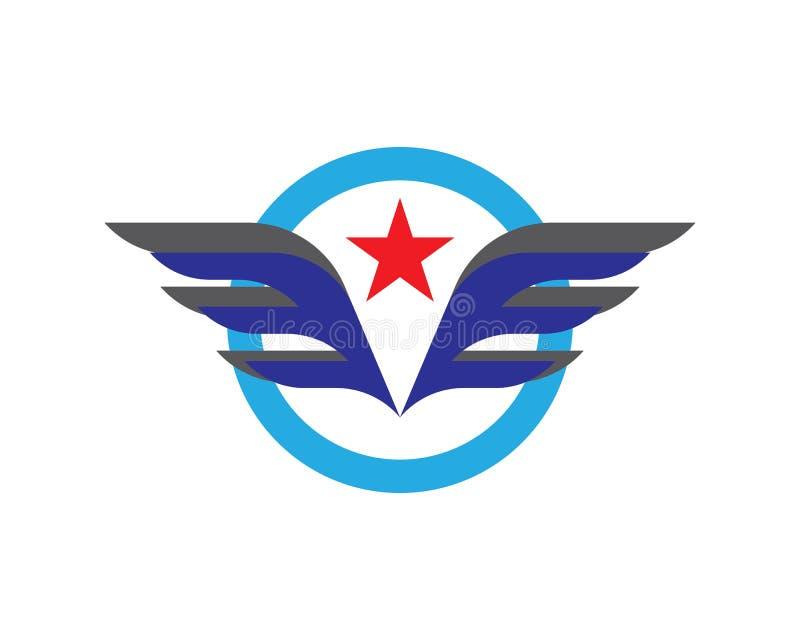 Logotipo da asa e molde do símbolo ilustração stock