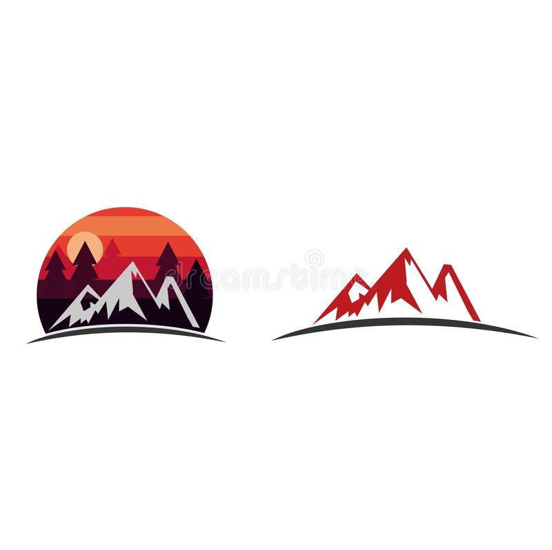 Logotipo da aventura e da expedição da montanha fotos de stock royalty free