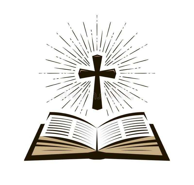 Logotipo da Bíblia, da escritura ou etiqueta Fé, credo, símbolo da adoração Ilustração do vetor ilustração do vetor
