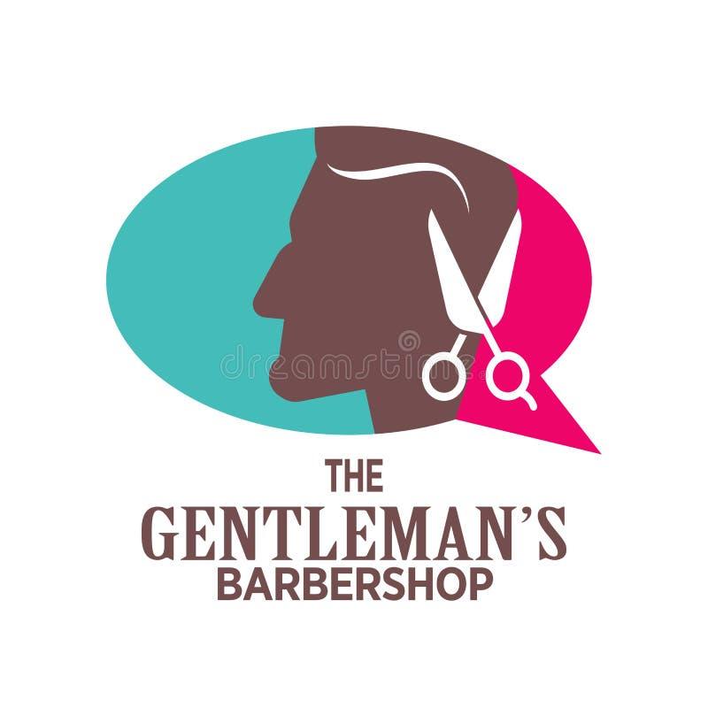 Logotipo da barbearia ou ícone do vetor da cabeça e das tesouras do homem para o salão de beleza do barbeiro, coiffeur superior d ilustração do vetor