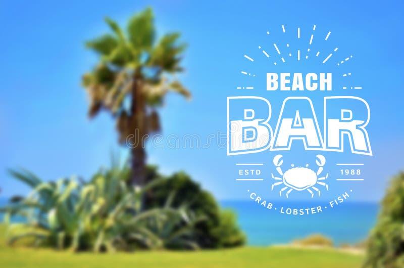 Logotipo da barra da praia no fundo borrado Bandeira do vetor ilustração royalty free