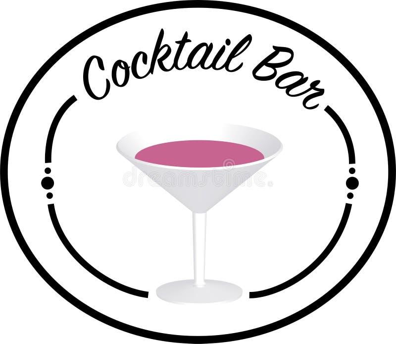 Logotipo da barra do cocktail com vidro no médio/transparant fotos de stock