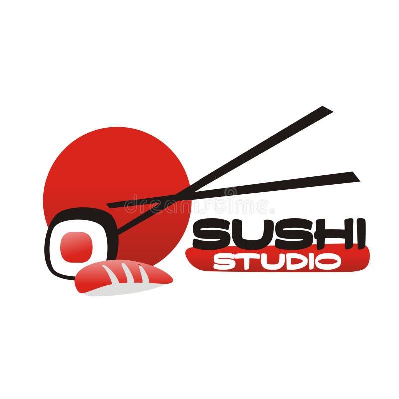 Logotipo da barra do sushi ilustração do vetor